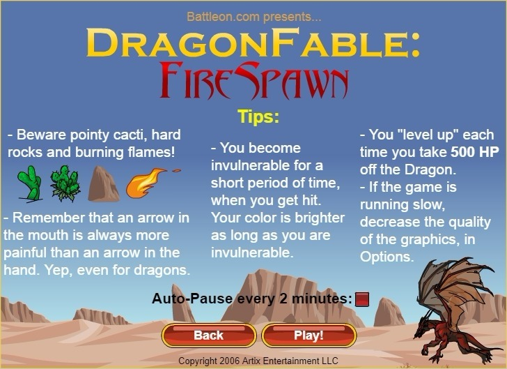 Dragon Fable: Fire Spawn Game