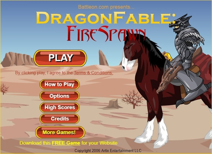 Play Dragon Fable: Fire Spawn Game Full Screen