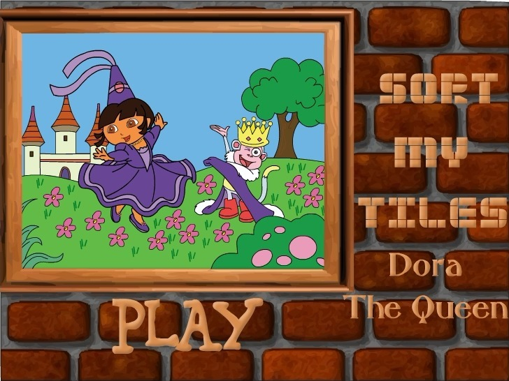 Play Sort My Tiles Dora the Queen Game Full Screen