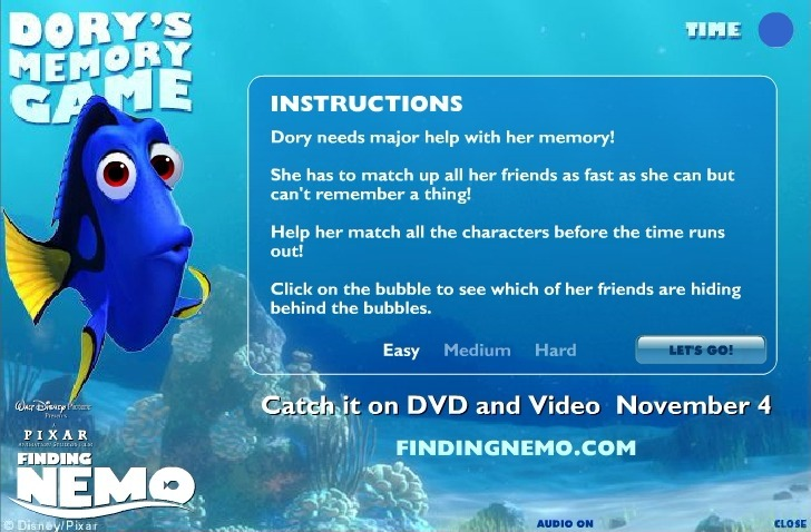 Play Finding Nemo (Memory) Game Full Screen
