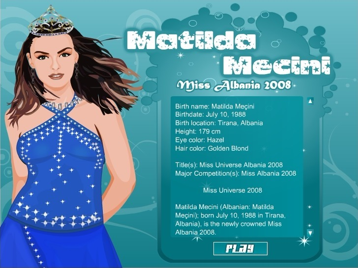 Play Matilda Mecini Miss Albania 2008 Game Full Screen