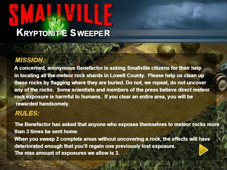 Play Smallville Kryptonite Sweeper Game Full Screen