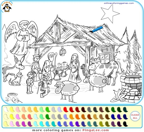 Play Nativity Scene Coloring Game Full Screen