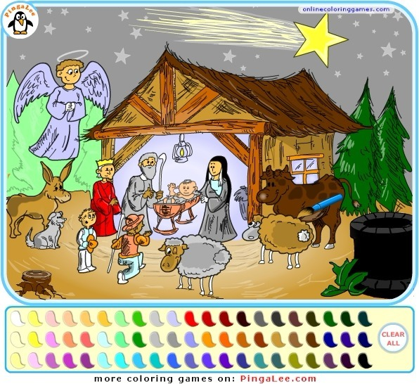 Nativity Scene Coloring Full Screen
