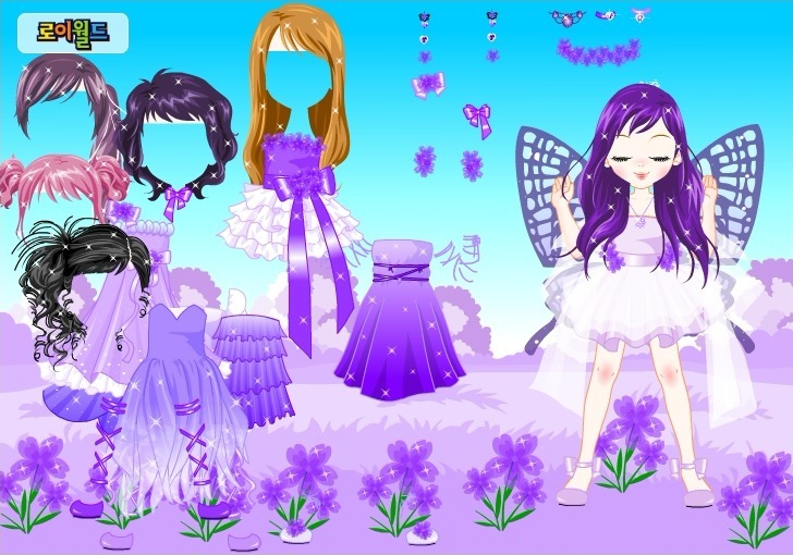 Purple Butterfly Dress up Full Screen
